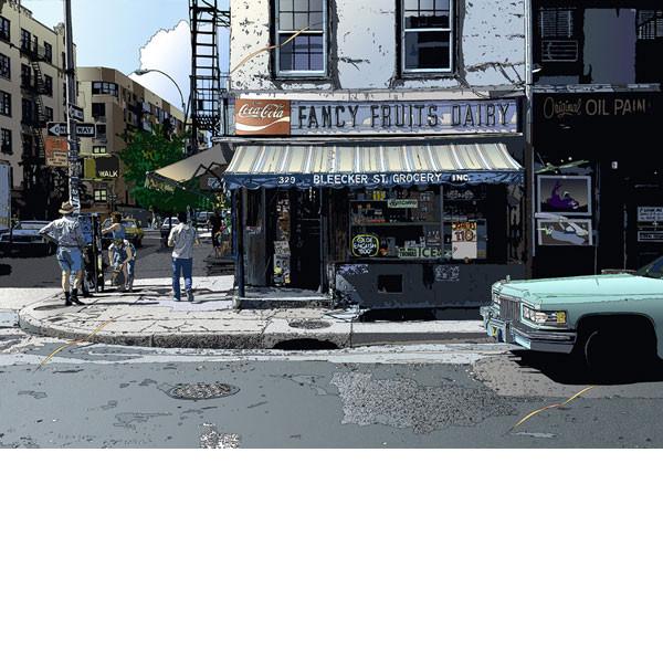 ■鈴木英人■版画「ブリッカー・ストリート・グロッサリー」 2000年