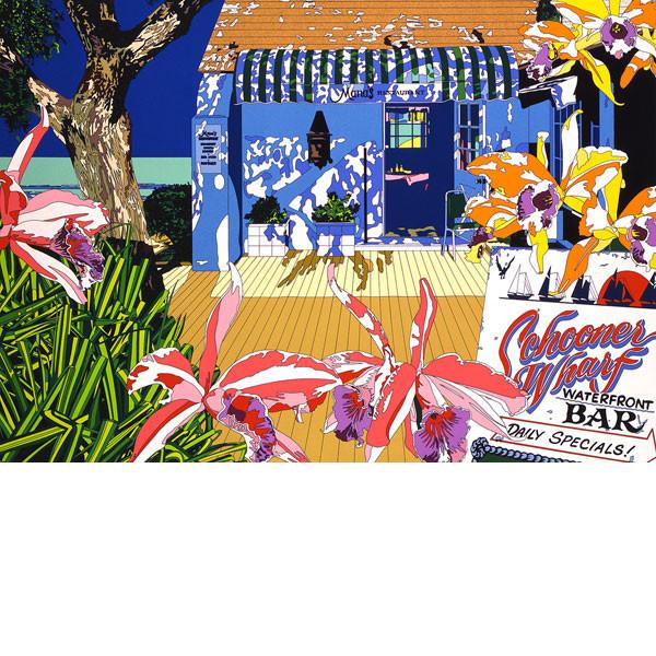 ■鈴木英人■版画「ウォーター・フロント・バー」 1992年