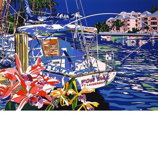 ■鈴木英人■版画「ヨットと過ごした夏の懐かしい日々」 1992年