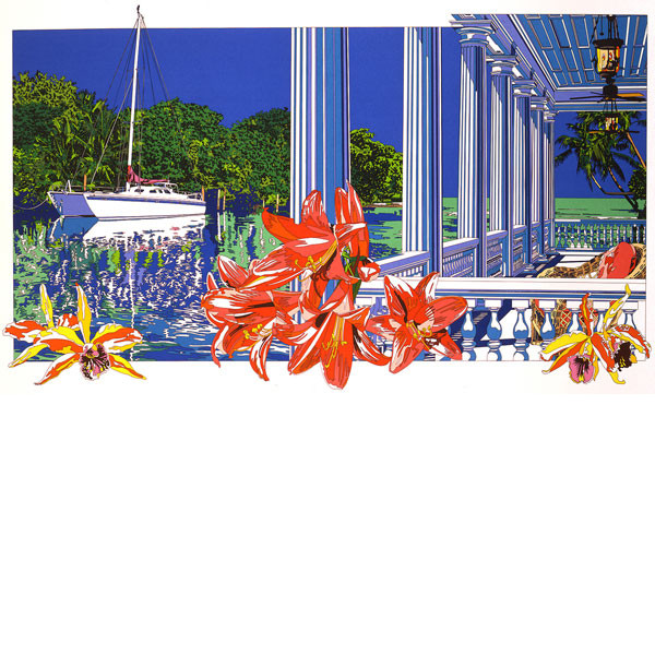 ■鈴木英人■版画「入江に輝く白いデッキ」 1992年