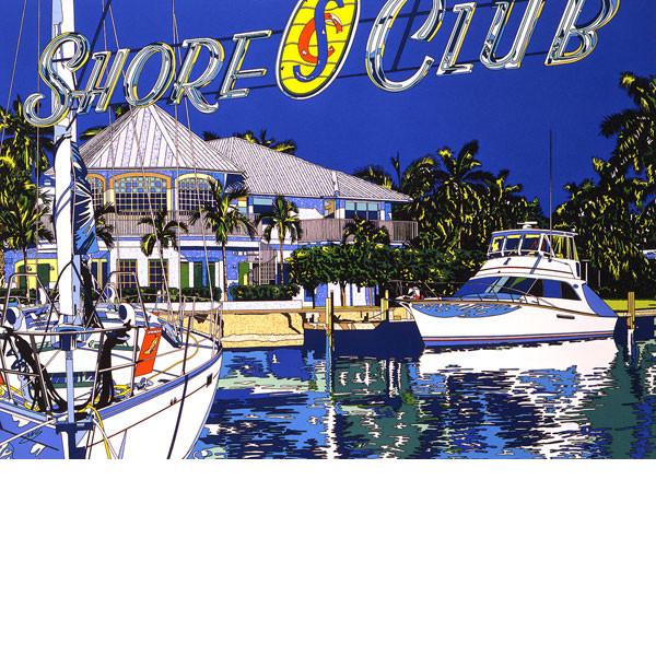 ■鈴木英人■版画「ショア・クラブ」 1993年