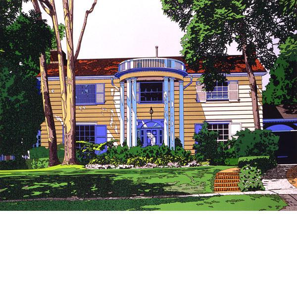 ■鈴木英人■版画「CAPE COD HOUSE 2」 1988年