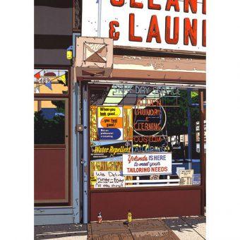 ■鈴木英人■版画「ALDEN LAUNDRY & CLEANING」 1988年