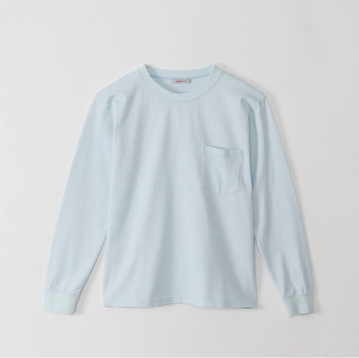 ポケット ロングTシャツ アートワークブルー LADY'Sレディー 胸ポケット おうち時間 即納最大半額 飽きないデザイン 永遠の定番 2色買い ソフトな肌触り 綿100% 日本製 ポケットロングTシャツ 大人カジュアル 定番 コーマ天竺 BLUE ART 着回し抜群 度詰め WORK カットソー 長袖