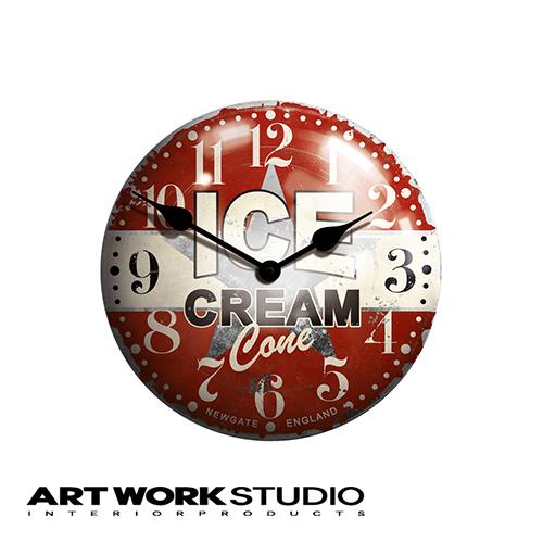 壁掛け時計 NEW GATE ニューゲート Ice cream advertising clock アイスクリームアドバタイジングクロック 直径50cm 電池式 スチール おしゃれ アメリカン ミッドセンチュリー【アートワークスタジオ公式】