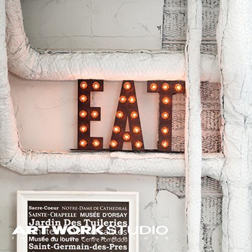 置き型マーキーライト ARTWORKSTUDIO アートワークスタジオ EAT sign イートサイン サインライト 置き型 スチール製 床置き照明 看板 インテリア アイアン ブルックリン NYスタイル【アートワークスタジオ公式】