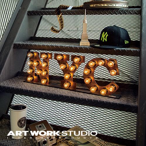 置き型マーキーライト ARTWORKSTUDIO アートワークスタジオ NYC sign ニューヨークシティーサイン サインライト 置き型 スチール製 看板 インテリア アイアン ブルックリン NYスタイル【アートワークスタジオ公式】