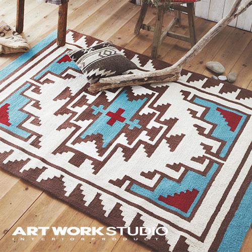 【アートワークスタジオ公式】玄関マット フルシーズン ネイティブアメリカン柄 おしゃれNative rug / Hills(S) ネイティブラグ / ヒルズ柄(S)