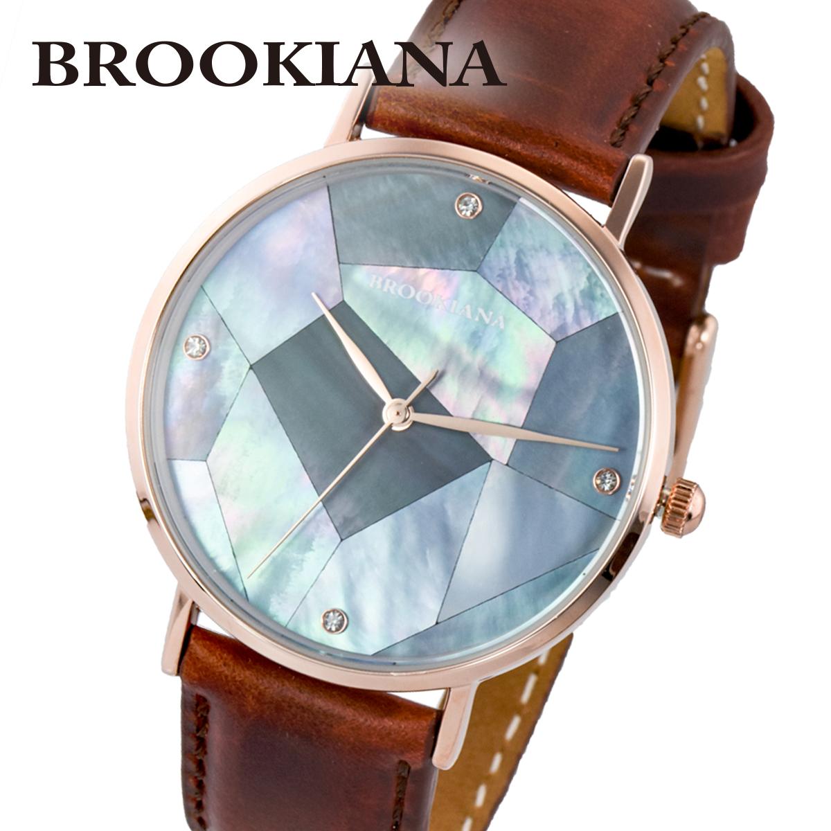【全品送料無料】 ブルッキアーナ BROOKIANA ROUND SLIM PEARL BA3101-RPBLBR メンズ 時計 腕時計 クオーツ