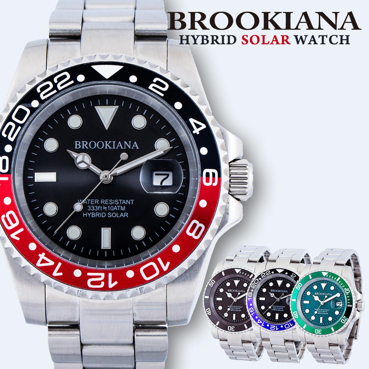 ソーラー ブルッキアーナ BROOKIANA BA2606 ダイバーウォッチ メンズ 時計 腕時計 クォーツ 防水 サブマリーナ グリーン グリーンサブ