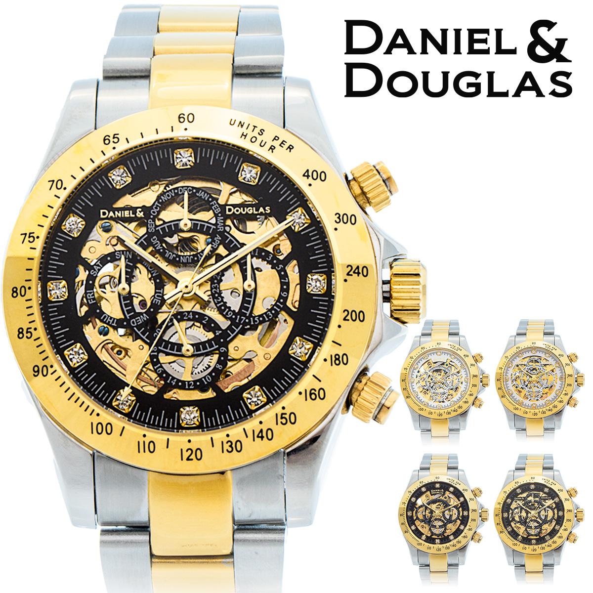 【期間限定特価】ダニエルダグラス DANIEL&DOUGLAS ダニエル ダグラス DD8802-GP メンズ 時計 腕時計 自動巻き オートマチック 機械式 スケルトン ゴールド