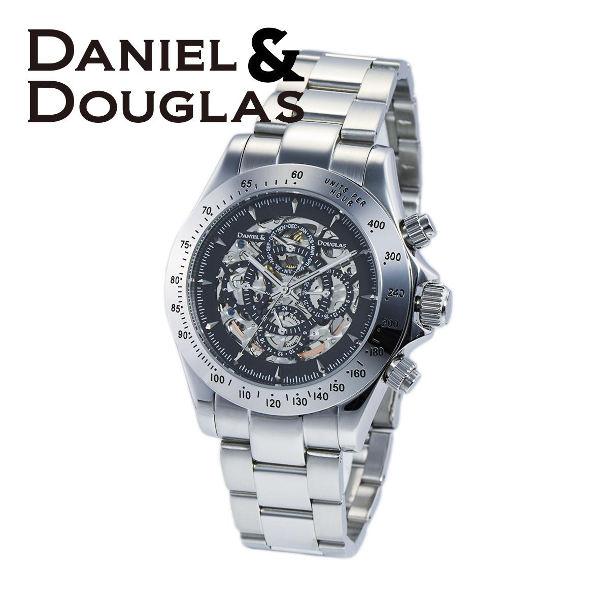 【全品送料無料】 ダニエルダグラス DANIEL&DOUGLAS ダニエル ダグラス DD8802-BKSV メンズ 時計 腕時計 自動巻き オートマチック スケルトン