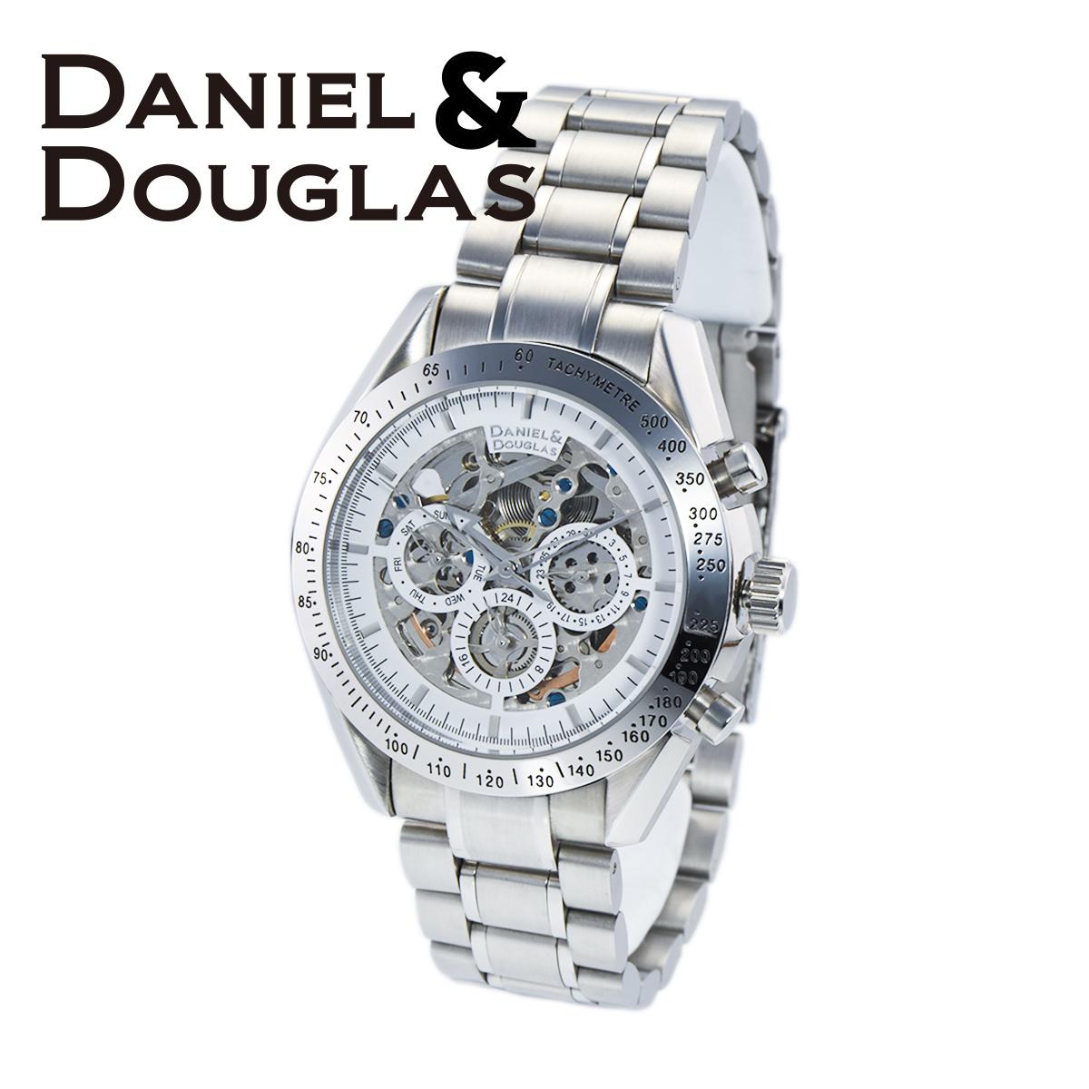 【全品送料無料】 ダニエルダグラス DANIEL&DOUGLAS ダニエル ダグラス DD8807-WHSV メンズ 時計 腕時計 自動巻き オートマチック スケルトン