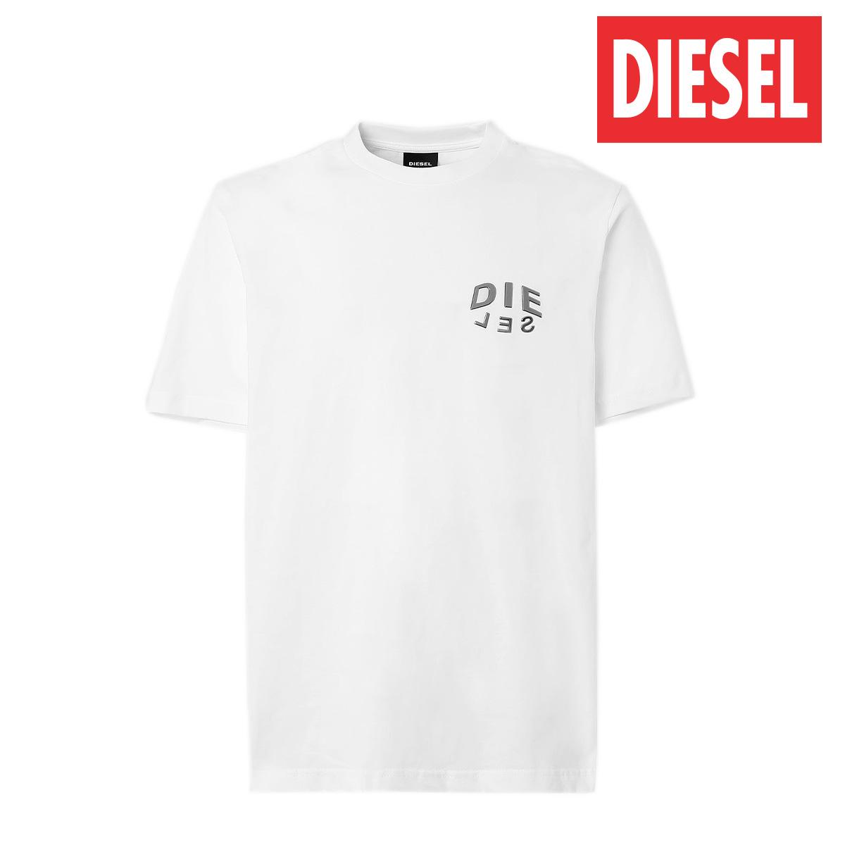 ディーゼル 海外正規品 海外 送料無料 あす楽 全品送料無料 与え DIESEL レディース メンズ ブラック メタリック T-JUST-SLITS-A30 Tシャツ A016840PATI ロゴ 半袖