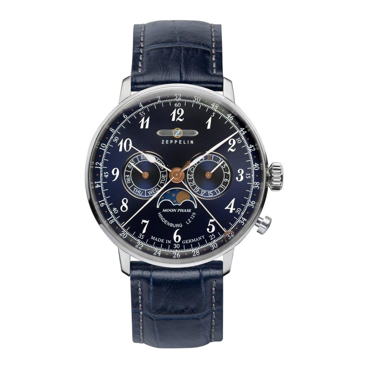 【全品送料無料】 ZEPPELIN ツェッペリン 腕時計 ヒンデンブルク ネイビー文字盤 ムーンフェイズ表示 デイデイト 7036-3 メンズ 時計 腕時計 プレゼント ギフト 贈り物[あす楽]