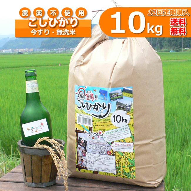 【定期購入】10kgx12回 令和元年産 玄米 白米 今ずり米 無洗米 農薬不使用 コシヒカリ