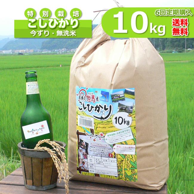 【定期購入】10kgx6回 令和元年産 玄米 白米 今ずり米 無洗米 減農薬・特別栽培米 コシヒカリ