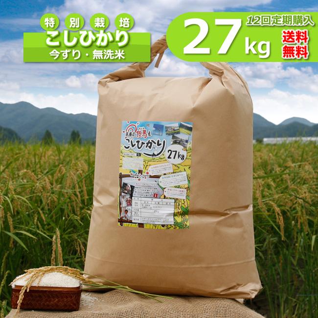 【定期購入】27kgx12回 令和元年産 玄米 白米 今ずり米 無洗米 減農薬・特別栽培米 コシヒカリ