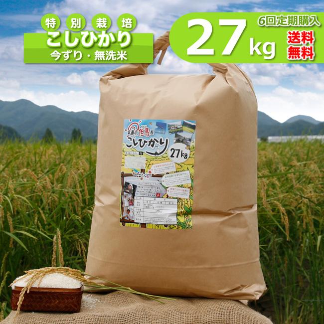 【定期購入】27kgx6回 令和元年産 玄米 白米 今ずり米 無洗米 減農薬・特別栽培米 コシヒカリ