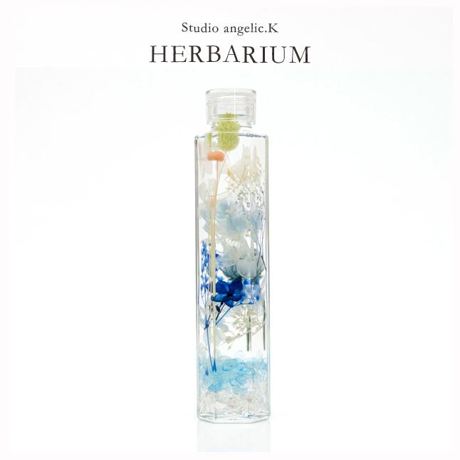 ハーバリウム プレゼント 花 ギフト 六角柱瓶(大)天然石入り hel001