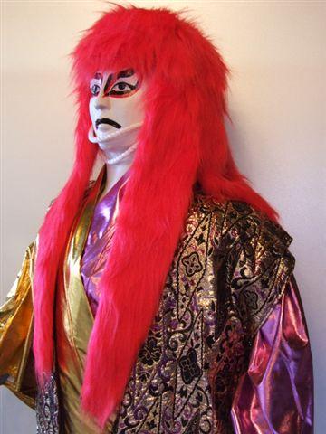 送料無料 獅子毛ロング 赤 170cm 仮装 変装パーティー かぶりもの 歌舞伎 オガワスタジオ 和風かつら