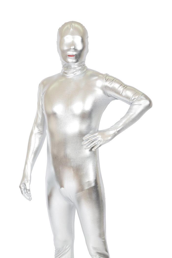 【メール便対応1個まで】透明人間 コーティング 銀 メタリック 全身タイツ 宴会 男女兼用 仮装 パーティーグッズ マスク 全身タイツ