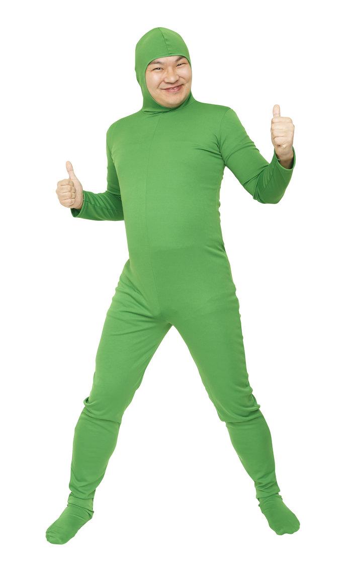 【メール便対応1個まで】のびのび全身タイツくん 緑 L 全身タイツ コスプレ 顔出し コスチューム ハロウィン 仮装 透明人間
