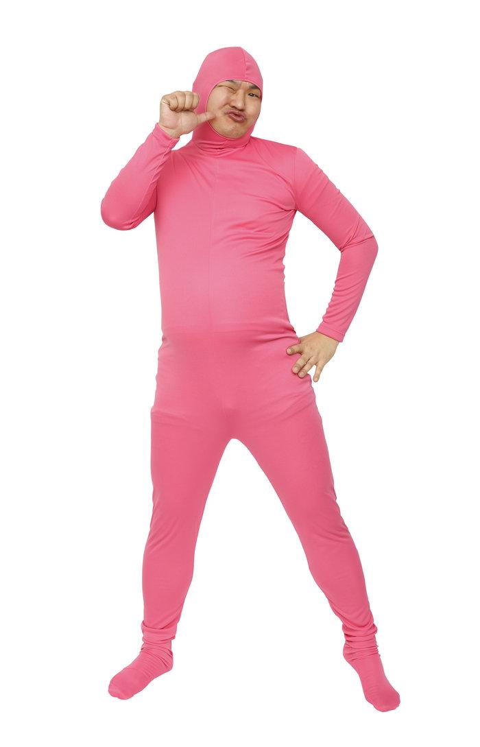 【メール便対応1個まで】のびのび全身タイツくん ピンク M 全身タイツ コスプレ 顔出し コスチューム ハロウィン 仮装 透明人間
