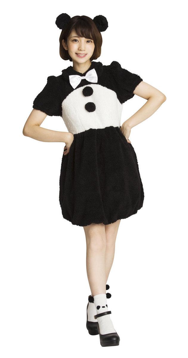 送料無料 ふわもこアニマル クールパンダ レディース コスチューム かわいい 仮装 どうぶつ コスプレ