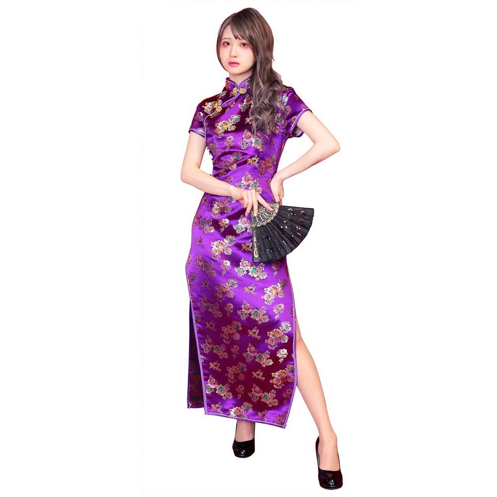 ロングチャイナ 花 税込 価格 紫 S M L 3サイズ コスチューム 仮装 チャイナドレス コスプレ レディース