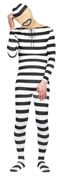 HWB キャンペーンもお見逃しなく 大人 フィットマンプリゾナー ハロウィン お得クーポン発行中 全身タイツ 男性 メンズ コスチューム コスプレ 囚人 仮装 ボーダー 衣装 変装