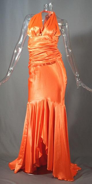 送料無料 ロングドレス オレンジ 着物ドレス 花魁 芸者 おいらん