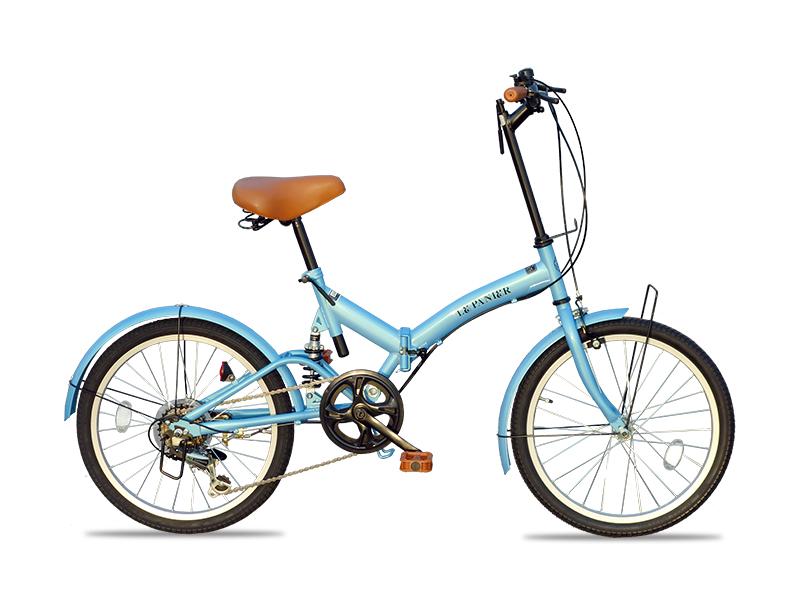 LePanierブランド 2019新商品 ワンランク上の上品なSHIMANO製6段変速 折りたたみ自転車 20インチ 専用カゴ、取り外し可能ライト、センターサスペンション、リアディレイラー付(LP-02) 折りたたみ自転車 超軽量 コンパクト
