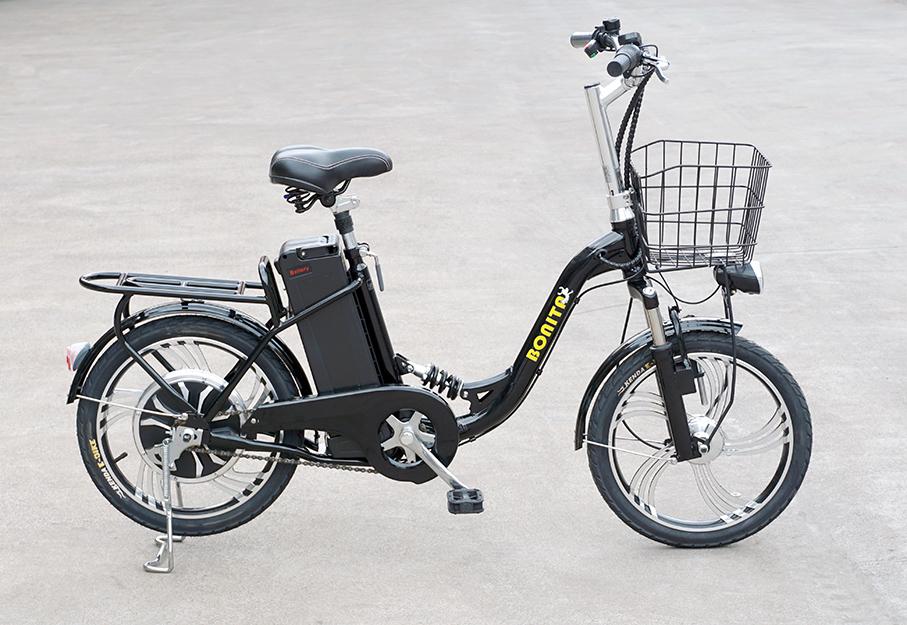 ★高速★48V大容量リチウムイオン電池★モペット電動自転車「フレア」18インチ、かご付き