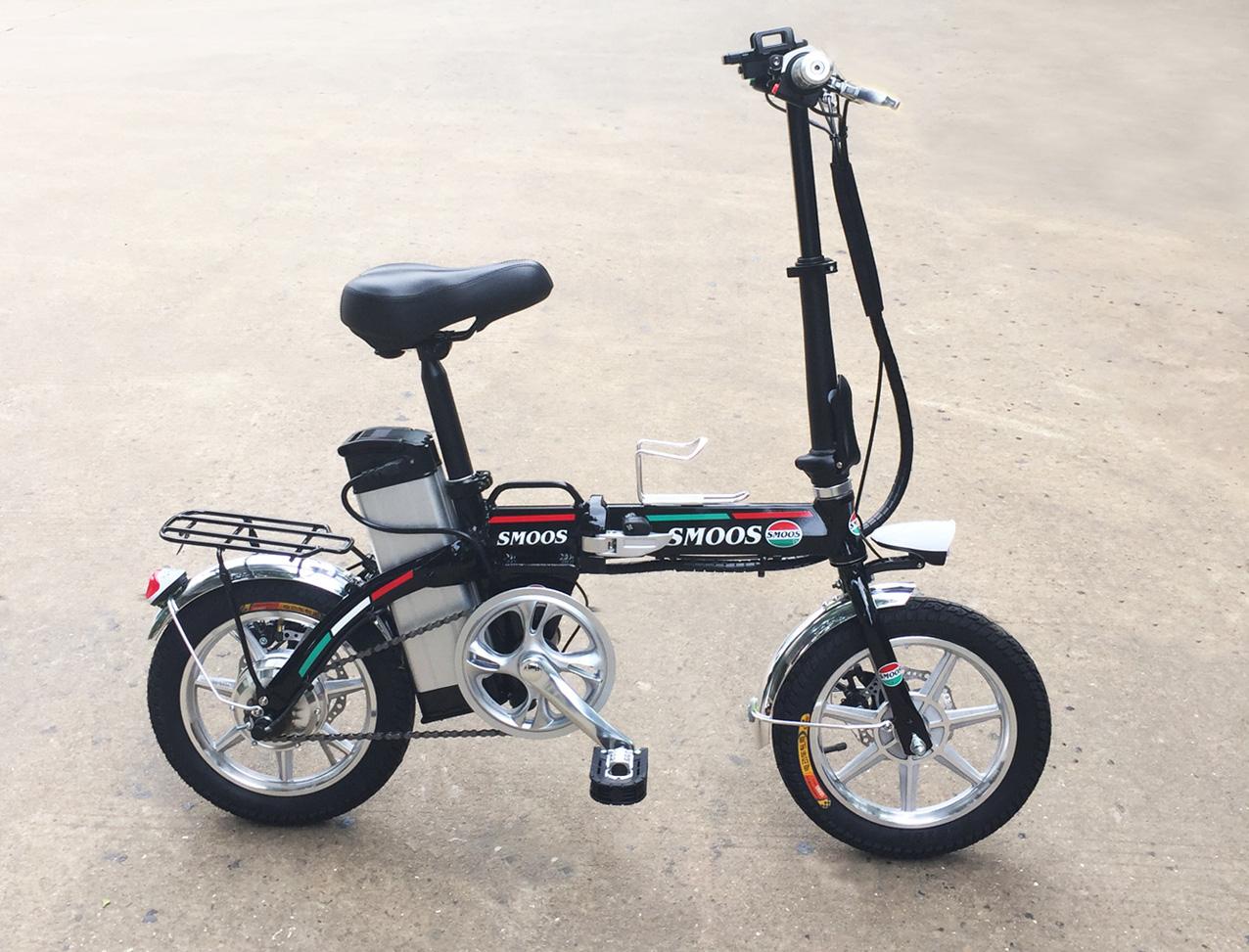 ★軽くて小型折りたたみ★フルアルミ大容量48V13.2AHモペット電動自転車SMART-14インチ,スマホホルダー付き