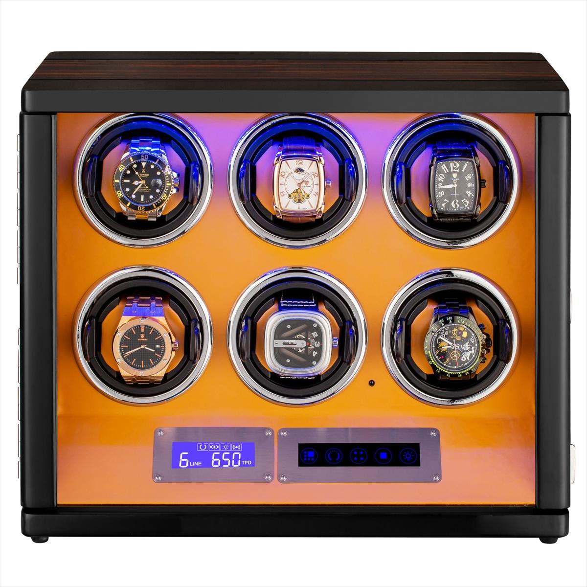 HOKUTO ワインディングマシーン 腕時計自動巻き器 ウォッチワインダー 6本巻き上げLEDライト付き腕時計 自動巻き ワインディングマシン 時計 収納ケース メンズ レディース 自動巻き機 ウォッチケース 時計ケース ギフト スタンド プレゼント 超静音