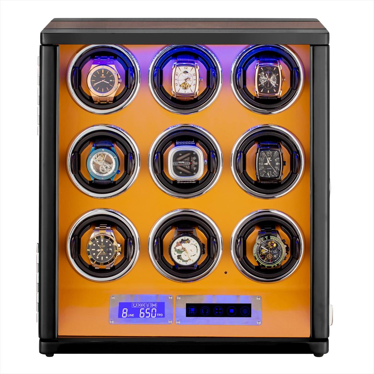 HOKUTO ワインディングマシーン 腕時計自動巻き器 ウォッチワインダー 9本巻き上げLEDライト付き腕時計 自動巻き ワインディングマシン 時計 収納ケース メンズ レディース 自動巻き機 ウォッチケース 時計ケース ギフト スタンド プレゼント 超静音