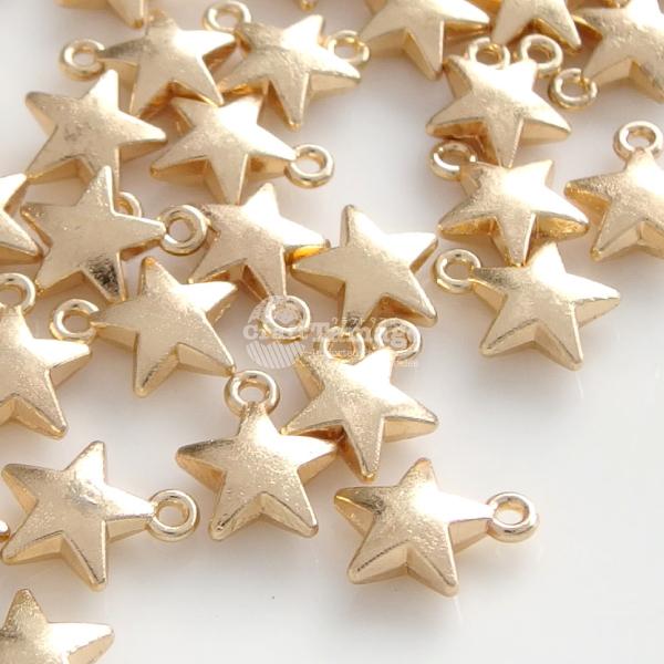 ワンポイントに 人気商品 ぷっくりした星のゴールドチャーム 人気商品 約100個 金属チャーム 小さな星 6.5mm Star スター 宇宙 材料 銀河 ハンドメイド 卸 パーツ 手芸 アクセサリー チャームパーツ