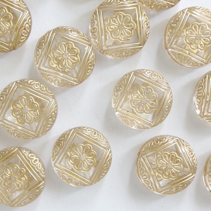 約50g エスニック風 百貨店 金スジクリアアクリルビーズ コイン型 21.5mm ボリュームアクセ 記念日 プラスチック 透明 卸 材料 模様 アクセサリー パーツ 手芸 ゴールドライン ハンドメイド