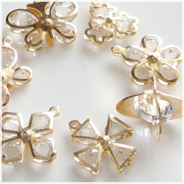 10個 7種類から選べる 予約販売品 ガラスダイヤ入 おしゃれ フレームチャーム 卸売り 卸し 手作り ハンドメイド