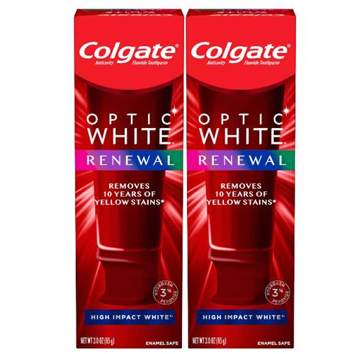 アメリカ 米国 ホワイトニング 歯磨き粉 送料無料 最新版 コルゲート オプティックホワイト リニュー ハイインパクト お得な ホワイト Impact 2本セット High Colgate Renewal 激安通販 最新 Optic 85g White