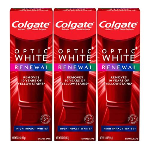 アメリカ 米国 ホワイトニング 歯磨き粉 送料無料 最新版 コルゲート Colgate オプティックホワイト リニュー 3本セット White Renewal Impact Optic 85g High お得な 低価格 送料無料新品 ホワイト ハイインパクト