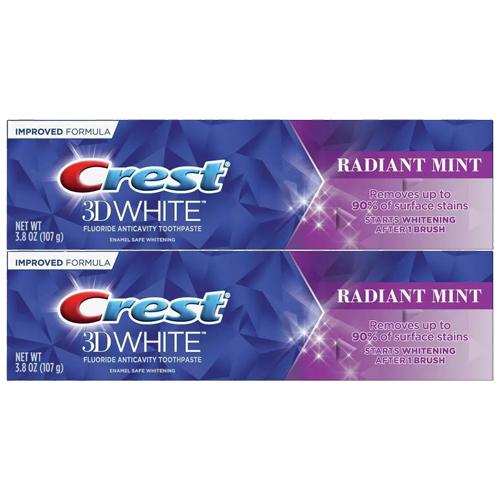アメリカ 米国 クレスト ホワイトニング 歯磨き粉 送料無料 3D 2本セット お得な ラディアントミント ホワイト Crest 107g ホワイトニング歯磨き粉 公式 新生活