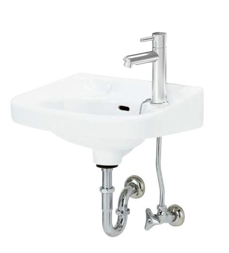アサヒ衛陶 平付洗面器 L250DP17SET 初回限定 壁排水金具 洗面器 Pトラップ仕様 ◆在庫限り◆