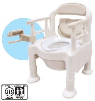介護用品 ベージュ 『高めに設定できるひじ掛け』で姿勢保持をサポート 533-593 FX-CP アロン化成 ポータブルトイレ 片手で切れるペーパーホルダータイプ 安寿 ちびくまくん