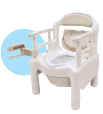 アロン化成 安寿 ポータブルトイレ FX-CP ちびくまくん 片手で切れるペーパーホルダータイプ 補高スペーサーなし 533-595 ベージュ 介護用品 『高めに設定できるひじ掛け』で姿勢保持をサポート