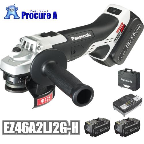 送料無料 Panasonic パナソニック EZ46A2LJ2G-H グレー 充電ディスクグラインダー φ125mm 18V 5.0Ah デュアル Dual セット品 電池パック×2個 充電器 ケース 電動工具 プロ仕様 白 黒