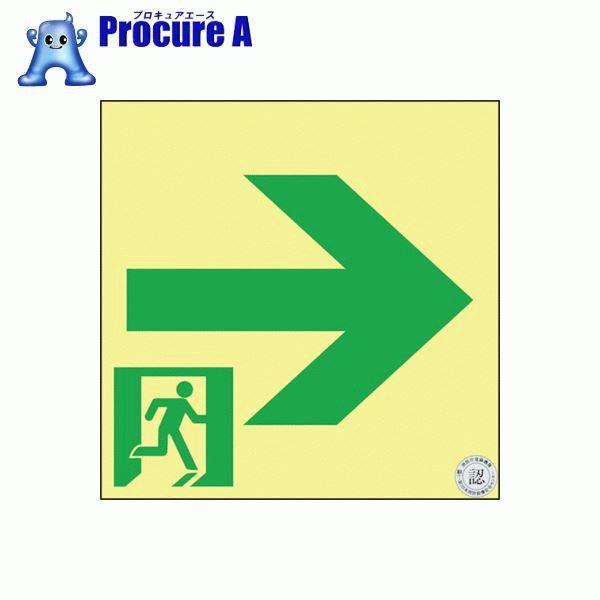 緑十字 高輝度蓄光避難誘導ステッカー標識 非常口→ 120×120 S級認定品 364961 ▼835-3852 (株)日本緑十字社