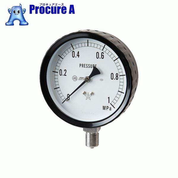 右下 ステンレス圧力計(A枠立型・φ100) 圧力レンジ0~1.00MPa G411-261-1MP ▼332-8201 右下精器製造(株)