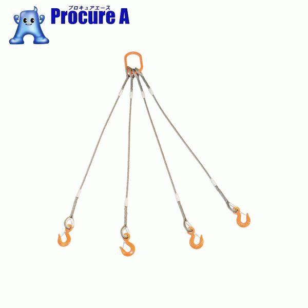 TRUSCO 4本吊りWスリング フック付き 6mmX1.5m GRE-4P-6S1.5 ▼819-1724 トラスコ中山(株)